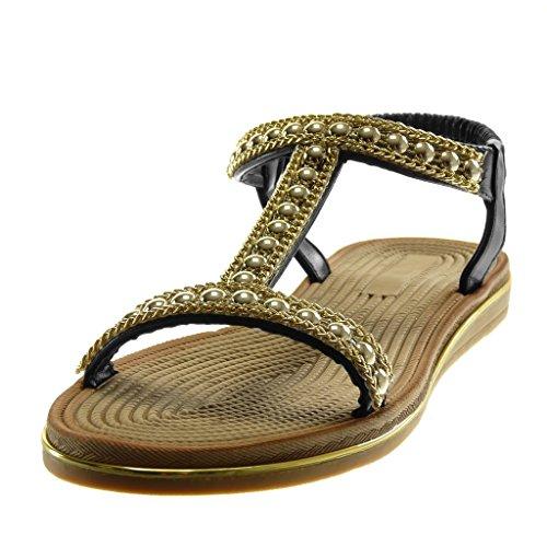 Angkorly Scarpe Moda Sandali Slip-On Cinturino con Cinturino Alla Caviglia Donna Perla Catena DOro Tacco Zeppa 2 cm Nero