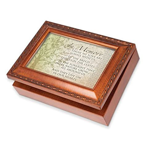 Cottage Garden In Memory Woodgrain Music Box / Jewelry Box Plays Wind Beneath Wings by Cottage Garden
