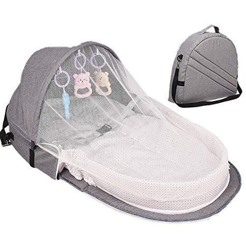 Balai Tragbare Wiege für Baby, faltbares Babybett, Reise-Sonnenschutz-Moskitonetz + atmungsaktiver Säuglingsschlafsack mit Spielzeug -