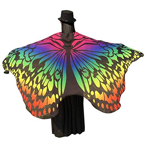 WOZOW Damen Schmetterling Flügel Kostüm Nymphe Pixie Umhang Faschingkostüme Schals Poncho Kostümzubehör Zubehör (Mehrfarbig 3) (Mädchen Kostüm Samt Hexe Schwarz Kleine)