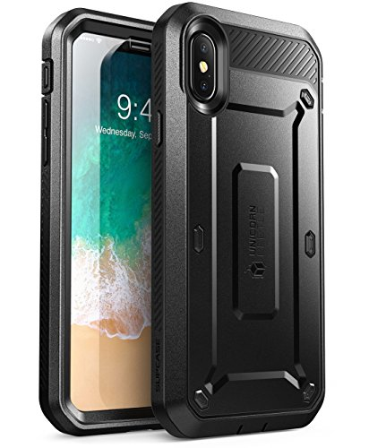 �lle iPhone X Hülle 360 Grad Handyhülle Outdoor Case Schutzhülle Full Cover [Unicorn Beetle Pro] mit Integriertem Displayschutz und Gürtelclip für iPhone XS 5.8 Zoll, Schwarz ()