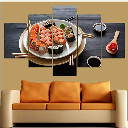 Quadro su tela Iagini Soggiorno Decorazioni per la casa Cornice 5 Pezzi Cucina famosa Delicious Sushi Pittura Modulare Stampe Hd Poster