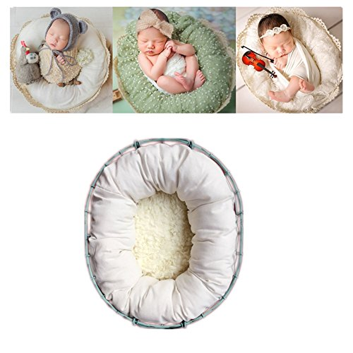 Neugeborenen Babyfotografie Props Kostüm Jungen Mädchen Baby Fotografieren Fotoshooting Set Posing Aid Baby konturierte Posing Runde Kreis Positioner Set (Weiß)