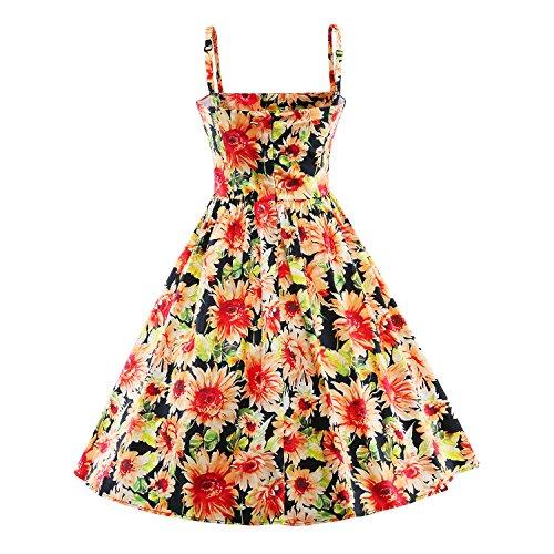 iLover Classy Vintage Blumen Hepburn Stil 40er 50er 60er Swing Rockabilly Abend Partei Kleid Red