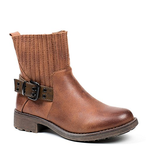 Ideal Shoes - Bottines style motard avec ceinturon Malikya Camel