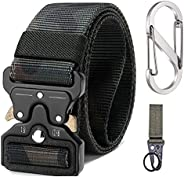 Military Tactical Belt with Military Hook Velcro, Waist Strap + Carabiner + Ring Buckle, Safety Belts Training