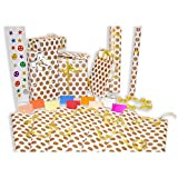 #4: Gift wrapping paper sheet roll ( 27 inch length and 18.5 inch width ) Gold polka dot with ribbon , 6 bows, pen , tape, 10 colorful cards and lot more Kraft items. For any occasion - Birthday, Wedding , Anniversary , Baby shower , Valentine day , Friendship day , new year , Diwali , Christmas . Packed in nice plastic duplex box.