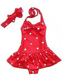 b956f9c75f2dd Girls One Piece Swimsuit Spaghetti Straps Polka Dot Striped Tankini  Swimming Costume Beachwear Summer Toddler Baby