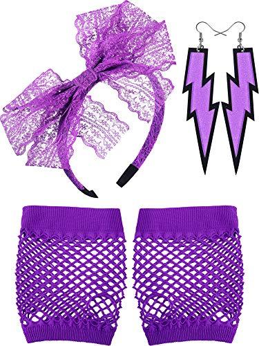 80 Jahre Spitze Stirnband Neon Ohrringe Fingerlose Fischnetz Handschuhe für 80 Jahre Party (Lila)
