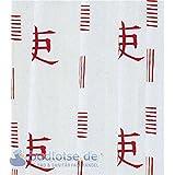 JAPAN Duschvorhang Viny 180 x 200 cm weiß/rot Japan China Schriftzeichen
