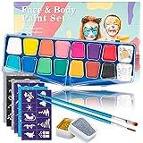 Kinderschminke Set Face Paint, Muscccm 14 Farben Schminkpalette, 2 Glitzer, 30 Schablonen, 2 Berufs Pinsel für Kinder, Gesichtsbemalung, Körperbemalung, Haare Malen, kinder schminke