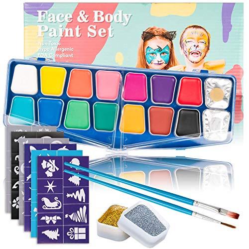 Kinderschminke Set Face Paint, Muscccm 14 Farben Schminkpalette, 2 Glitzer, 30 Schablonen, 2 Berufs Pinsel für Kinder, Gesichtsbemalung, Körperbemalung, Haare Malen, kinder schminke (Haare Halloween-make-up Rote)