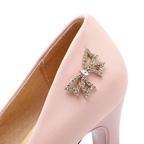 VogueZone009 Femme Rond à Talon Haut Matière Souple Mosaïque Tire Chaussures Légeres Rose