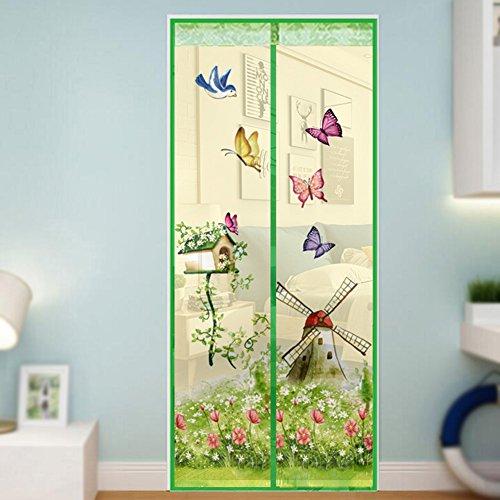 Magnetischer Insektenschutzvorhang, Windmühle und Schmetterlingsmuster, hohe Dichte, Fliegenfliegen, Moskitonetz-Vorhang, lässt frische Luft – Verschluss automatisch, grün