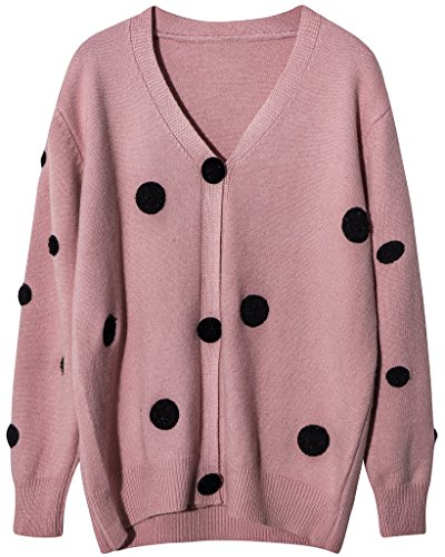 Vogueearth Femme's Longue Manche Knit Polka Dots Cardigan Sweater Chandail Tricots Rose