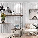 Papel de contacto de madera blanco Película de vinilo autoadhesivo PVC Papel pintado de madera gris blanco Pegatinas de cocina duraderos Estante impermeable Muebles Contador Peel Stick 45cm * 2 m
