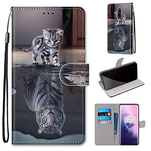 Miagon Flip PU Leder Schutzhülle für OnePlus 7 Pro,Bunt Muster Hülle Brieftasche Case Cover Ständer mit Kartenfächer Trageschlaufe,Katze Tiger