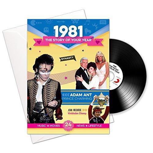 1981 Cumpleaños o Regalos de Aniversario - 1981 Tarjeta y Regalo 4-en-1 - Historia de su año, CD, Descarga de música