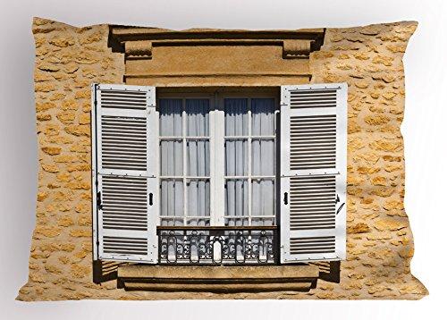 Lunarable Country Kissen Sham, Traditionelle French Style Jalousien in Bohemian europäischen Stil Antik Print, Dekorative Standard Größe Gedruckt Kissenbezug, Ecru Weiß 36