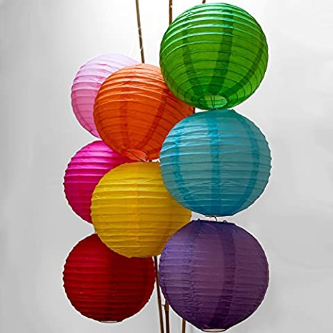 Chinese Paper Lanterns Decorations, Tankerstreet Garden Lanterns Decorative Hanging Can Be Put with Fairy String Lights, Paper Lantern Indoor/Outdoor for Garden Home Party Craft Affairs Decorations 8pcs Pack Assorted Colours