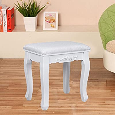 White Wooden Dresser Stool Anti Slip Mats High Quality Frame Elegant Design \ Furniture Home House Cabinet Desk Shelf Stand Dresser Seat Dining Living Room Chairs Table Contemporary Stylish Unique Ottoman Stuff Parents Kids Outdoor Indoor Sleeping Beside