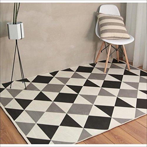 LILY Nordischer schwarzer und weißer grauer Farbteppich, Polyester-Druckteppich, Arbeitszimmer-Schlafzimmer-Teppich ( Größe : 120*160CM )
