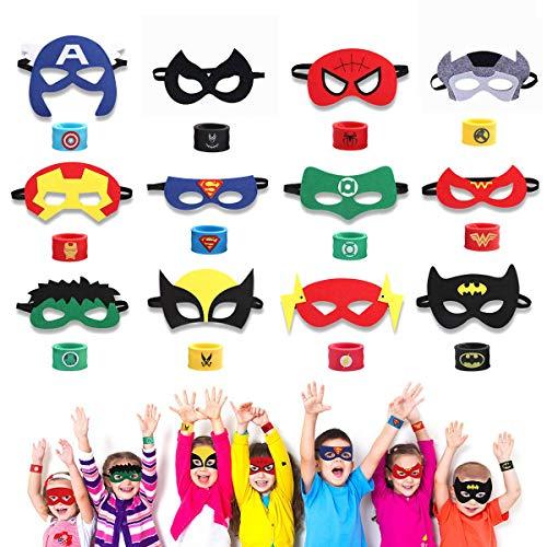 Superhelden Masken, Superhelden Armbänder & Super Masken für Kinder Superhero Masken mit Elastischen Seil für Erwachsene und Kinder Party Maskerade Multicolor (12 Stück Masken & 12 Stück Armbänder)