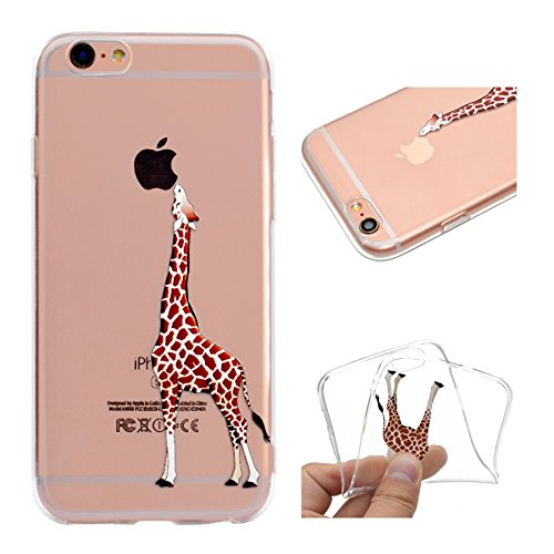 Custodia per iPhone 6 Plus, per iPhone 6S Plus Cover, ZCRO Custodia in Silicone Trasparente TPU Colorata Modello Ultra Slim Disegno Case Gomma Morbida Antigraffio Bumper Caso Cover Protezione con Penn Giraffa