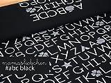 Mamasliebchen Jersey-Stoff Schwarz Meterware ABC #Black (0,5 m x 1,5 m)