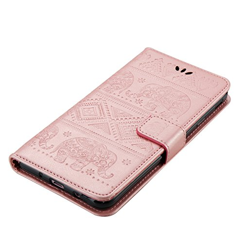 Für Samsung Galaxy J7 Prime Premium Leder Schutzhülle, weiche PU / TPU geprägte Textur Horizontale Flip Stand Case Cover mit Lanyard & Card Cash Holder ( Color : Red ) Pink