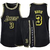 Anthony Davis # 3 Lakers Baloncesto Sin Mangas Clásico Bordado Hombres Niños Jersey Niños Y Niñas Tops + Shorts Conjunto De Sudadera De 1 Pieza,Negro,L165cm/45~50kg