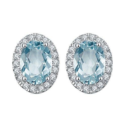 hutang 1.573CT natürlicher Aquamarin Halo Ohrstecker massiv 925Sterling Silber Edelstein Fine Jewelry Damen Geschenk - Aquamarin Runde Ohrstecker