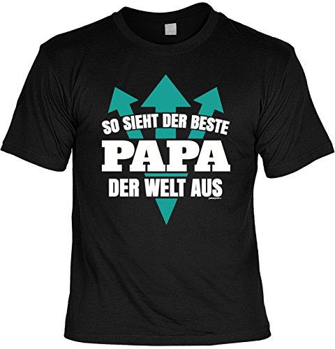 Fun T-Shirt zum Vatertag: So sieht der beste Papa der Welt aus - Geschenk, Geburtstag, Vatertagsausflug - schwarz Schwarz