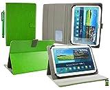 Emartbuy® Denver TAQ-10223G 10.1 Zoll Tablet PC Universalbereich (10-11 Zoll) Grün Multi Angle Exekutiv Folio Mappen Kasten Abdeckung mit Kartensteckplätze + Eingabestift