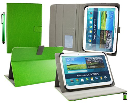 Emartbuy® Energy Sistem Neo 3 Lite Tableta PC 10.1 Pulgada Universal Serie ( 10 - 11 Pulgada ) Verde Ángulo Múltiples Ejecutivo Folio Carcasa Wallet Case Cover Con Ranuras Para Tarjetas + Lápiz Óptico
