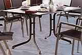 Sieger 1180-70 Boulevard-Tisch mit Puroplan-Platte 165 x 95 cm, Stahlrohrgestell marone, Tischplatte Schieferdekor mocca