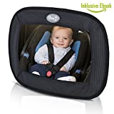 Premium Rücksitzspiegel für Babys I Bruchsicherer Autospiegel mit noch MEHR Sicherheit I Optimale Sicht auf Ihr Baby im Maxi Cosi I Passend für jedes Auto, auch ohne Kopfstütze