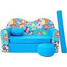 WELOX M00000620 kindersofa, Stoff, blau, 50 x 100 x 60 cm