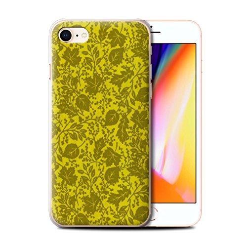 Stuff4 Hülle / Case für Apple iPhone 8 / Blau Muster / Blatt/Silhouette Muster Kollektion Gelb