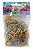 Rainbow Loom RL563 - Original Silikonbänder Mix, 12 C - Clips, 300 Stück, metallic gold/silber