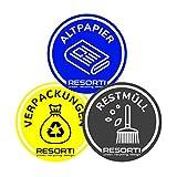 RESORTI Aufkleber 3er SET für Mülltrennung, Mülleimer, Abfalltrennsystem farbig (Verpackungen/Gelber Sack, Restmüll, Alt-Papier) UV-Beständig und Wetterfest