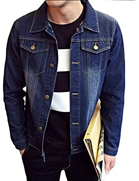 Yonglan Hombre Corto Chaquetas Solapa Jacket Manga larga Simple Denim Jacket Chaqueta de lavado Azul marino XL
