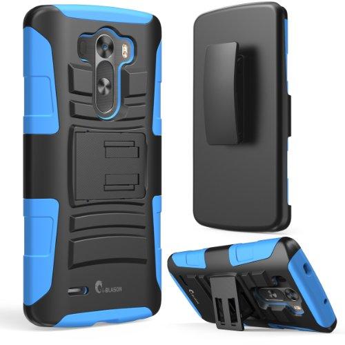i-Blason LG G3 Case - Prime Series Dual Layer Holster Case with Kickstand and Locking Belt Swivel Clip Blau