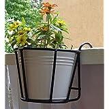 Green Gardenia Iron Railing Planter- Round Basket with Metal Pot-White (White)