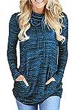 Damen Langarm Heather Cozy Wasserfallausschnitt Kordelzug Sweatshirt Pullover Top (Blau, XXXL)