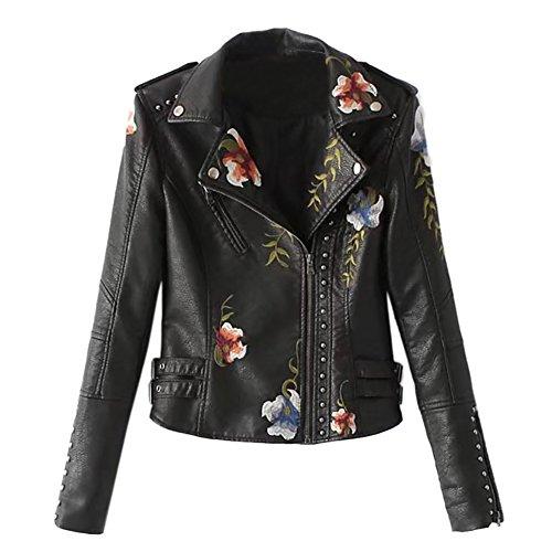 84ecd749509 iBaste Bikerjacke Damen Revers PU Lederjacke Leather Jacket für Damen  Mantel Kurz Bikerjacke mit Stickerei Outwear