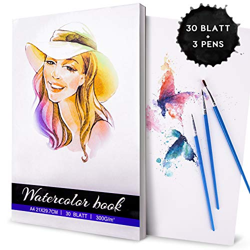 Aquarellpapier, Gifort Aquarellblock A4 (21 x 29.7 cm) | 30 Blätter Pro Malblock mit 3 Aquarellstiften, Weißes Malpapier für Wasserfarben und Gemischte Malmedien