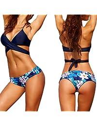 Elyseesen Sexy Women Bikini Set Swimwear Push-Up Padded Bra Swimsuit Beachwear (Bleu)