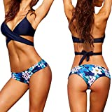 Elyseesen Sexy Women Bikini Set Swimwear Push-Up Padded Bra Swimsuit Beachwear (Bleu)