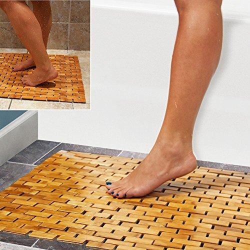HANKEY Bambusmatte Badematte aus Bambus Holz | Duschmatte, Badteppich | Fußmatte für Dusch, Bad, Spa, Balkon | Wasserfest, Umweltfreundlich & Langlebig | Aufrollbar & Faltbar (60 x 40 x 0,5 cm)